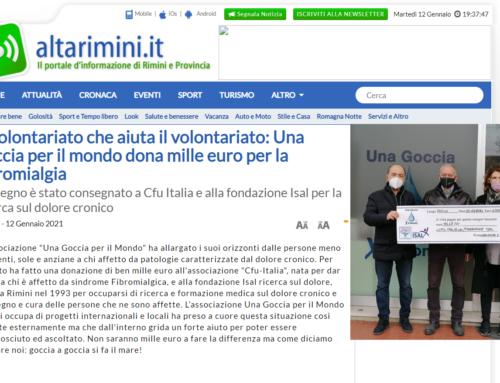 Il volontariato che aiuta il volontariato: Una goccia per il mondo dona mille euro per la fibromialgia