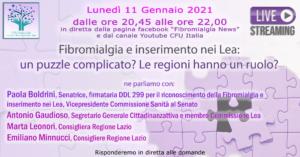 Fibromialgia e inserimento nei Lea: Diretta Streaming CFU-Italia